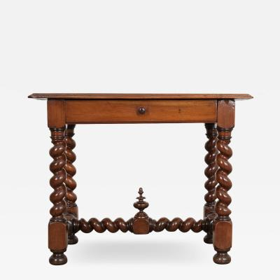 French 19th Century Walnut Barley Twist Writing Table