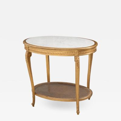 French 19th Louis XVI Style Oval Giltwood Occasional Table