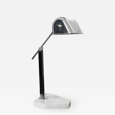 French 20th Century Marble and Chrome Desk Lamp