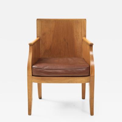 French 40 s Oak chair with Original Brown Leather Seat France c 1940