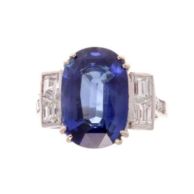 French 6 60 Carat AGL Certified Sapphire Gold Engagement Ring