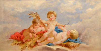 French Academic Painting Three Putti