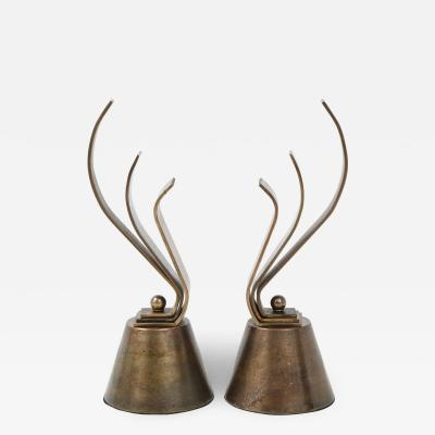 French Aged Bronze Fireplace Andirons