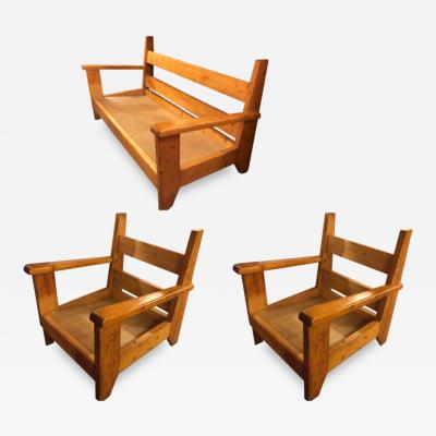 French Alp rare solid pine brutalist couch 2 arm chairs set
