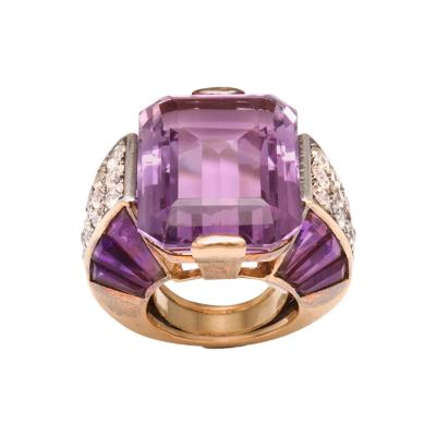 French Amethyst Diamond Ring