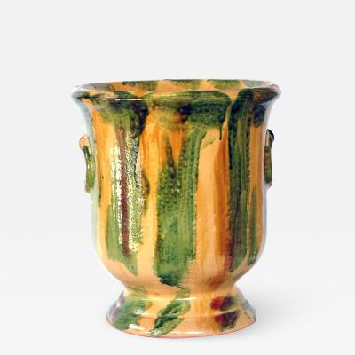French Anduze Style Pottery Garden Pot with Yellow Green and Brown Drip Glaze