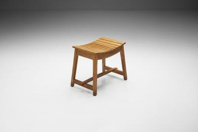 French Angular Wooden Stool France ca 1940s