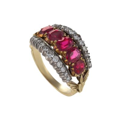 French Antique Ruby Diamond Gold and Silver Ring
