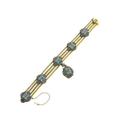 French Antique Turquoise Enamel and Gold Locket Bracelet