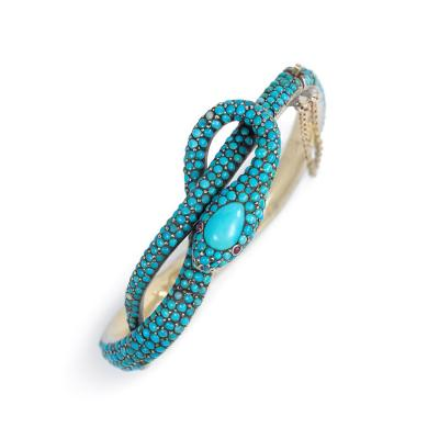 French Antique Turquoise Gold and Sterling Silver Serpent Motif Bracelet