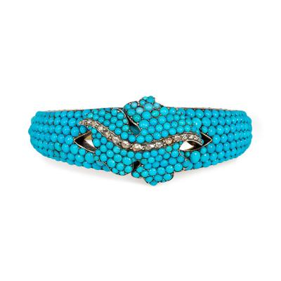 French Antique Turquoise and Gold Bangle with Leaf Motif and Diamond Accents