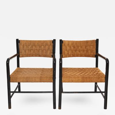 French Arm Chairs with Woven Seat Back Sold as Pair