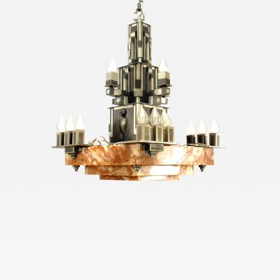 French Art Deco 16 Light Chandelier