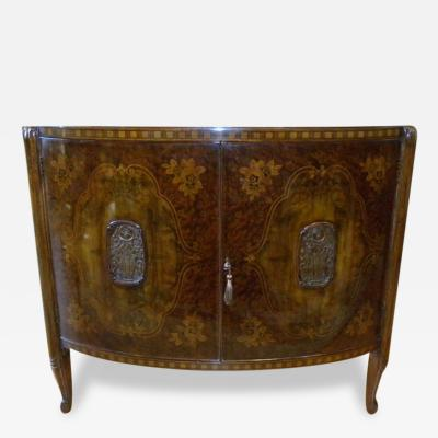 French Art Deco 1920s Exquisite Demi Lune Shaped Cabinet Marquetry
