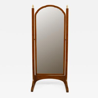 French Art Deco Amboyna Wood Framed Beveled Glass Cheval Mirror