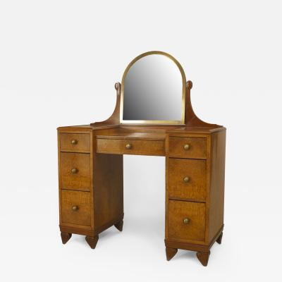 French Art Deco Amboyna Wood Kneehole Dressing Table