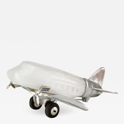 French Art Deco Chrome and Glass Airplane Lamp