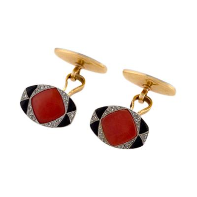 French Art Deco Coral Onyx and Diamond Cuff Links