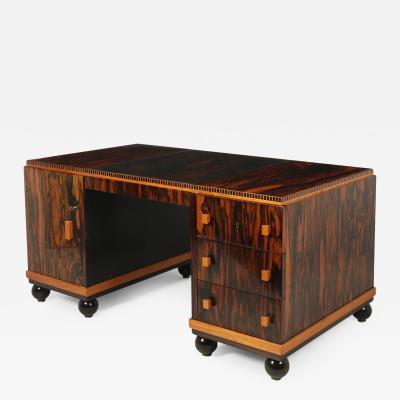 French Art Deco Desk in Macassar Ebony