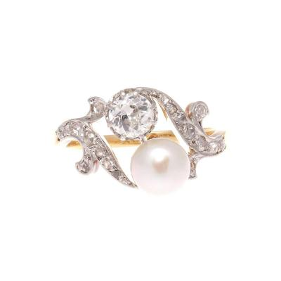 French Art Deco Diamond Pearl Gold Ring