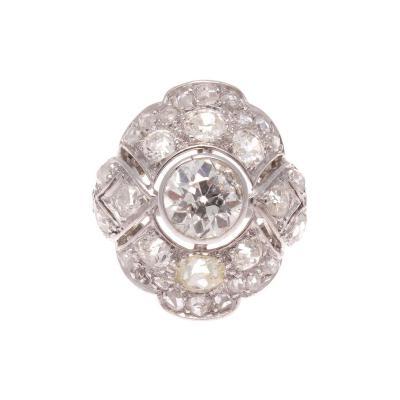 French Art Deco Diamond Platinum Ring