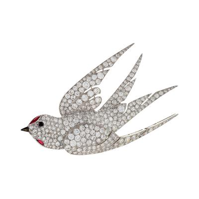 French Art Deco Diamond Ruby and Platinum Dove Brooch