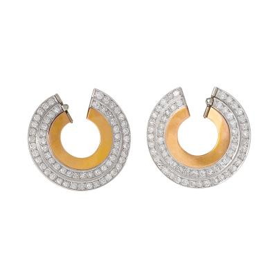 French Art Deco Diamond and Gold Earrings