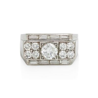 French Art Deco Diamond and Platinum Ring of Geometric Design