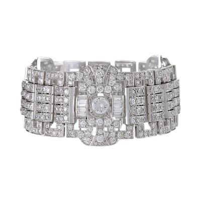 French Art Deco Diamond and Platinum Wide Bracelet