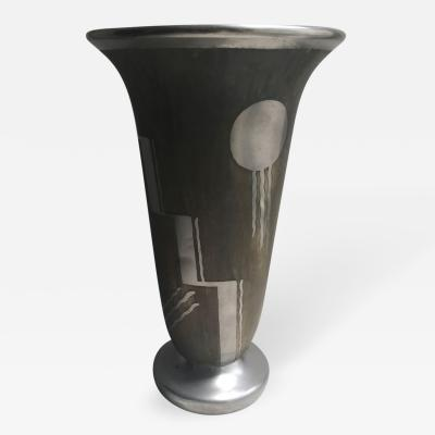 French Art Deco Dinanderie Modernist Vase by Charles