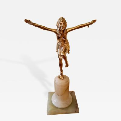 French Art Deco Egyptian Revival Bronze Statue in Gold