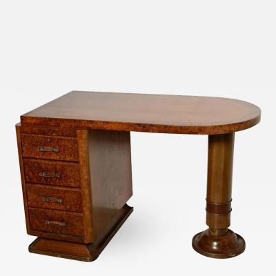 French Art Deco Four Drawer Pedestal Desk in Ribbon Mahogany and Burl Wood