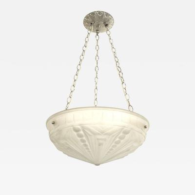 French Art Deco Frosted Glass Bowl Chandelier