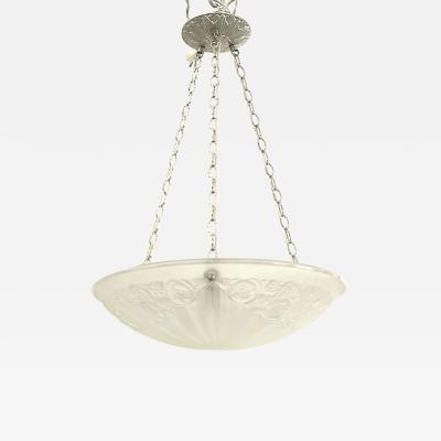 French Art Deco Frosted Glass Pendant Bowl Chandelier