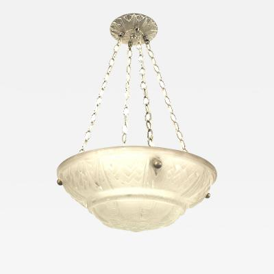 French Art Deco Frosted Pendant Bowl Chandelier