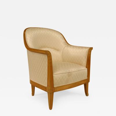 French Art Deco Fruitwood Bergere Armchair