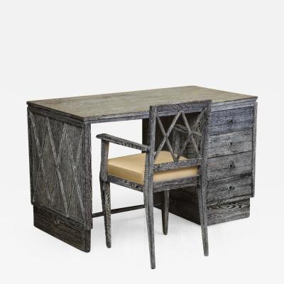 French Art Deco Gray Cerused Oak Desk and Chair Set from a Maine Estate