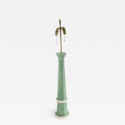 French Art Deco Green Shagreen Table Lamp