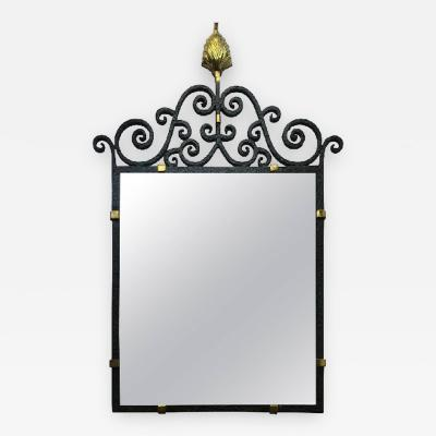 French Art Deco Hand Forged Black Iron Ornate Mirror