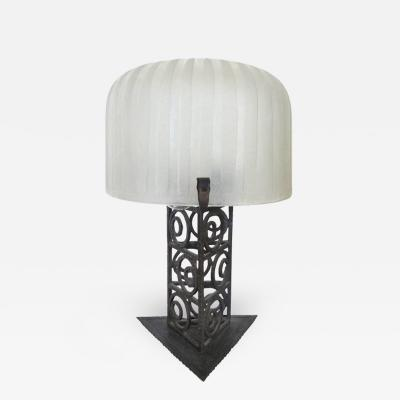 French Art Deco Iron and Glass Table Lamp