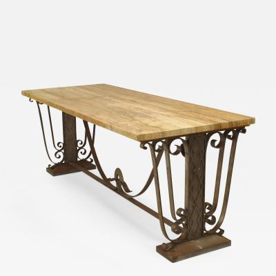 French Art Deco Large Rectangular Iron Scroll Side Center Table