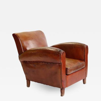 French Art Deco Leather Club Chair 1940
