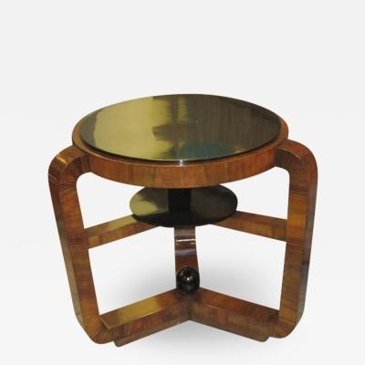 French Art Deco Macassar Ebony Table With Ebonized Top