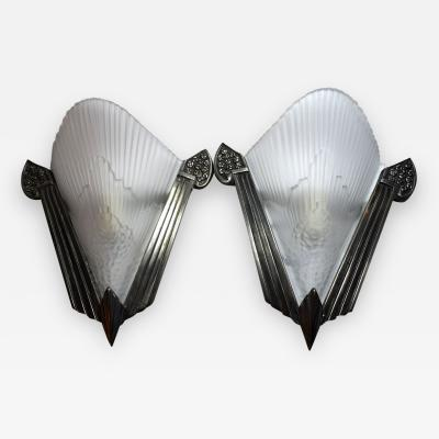 French Art Deco Matching Pair of Wall Lights
