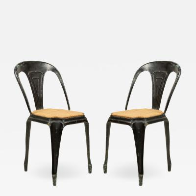 French Art Deco Metal Cafe Side Chairs