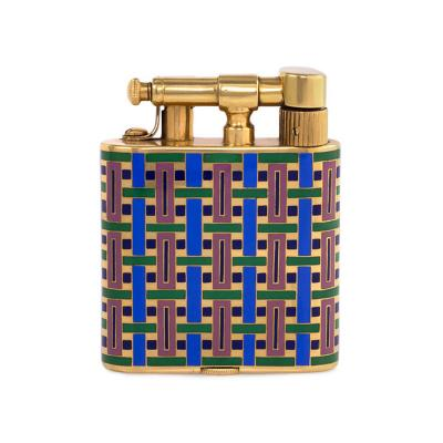 French Art Deco Multi Colored Enamel and Gold Lighter
