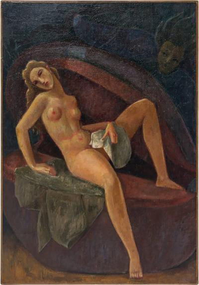 French Art Deco Oil Painting on Canvas by Gustave Florot circa 1930