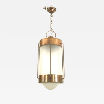 French Art Deco Oxidized Copper Hanging Lantern