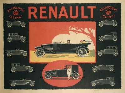 French Art Deco Period Poster for Renault circa 1920s
