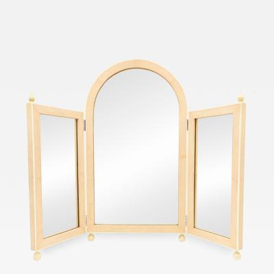 French Art Deco Pink Shagreen Triptych Dressing Vanity Table Mirrors